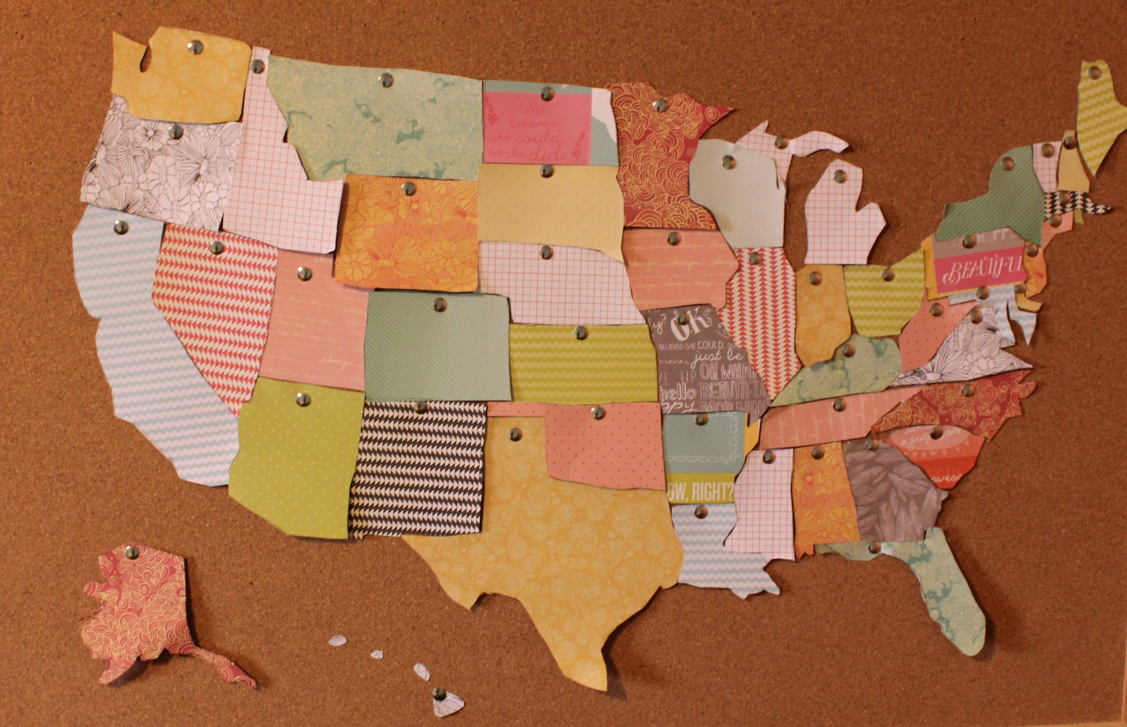 DIY United States Cork Board Map - Us travel map on cork board