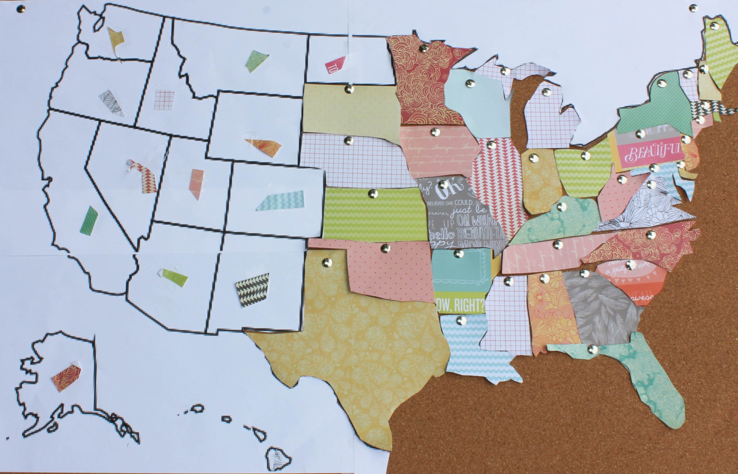 DIY United States Cork Board Map - Map of the united states cork board